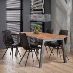 Esstisch 180 edge 25mm Stahl schwarz - Massiv acacia naturel