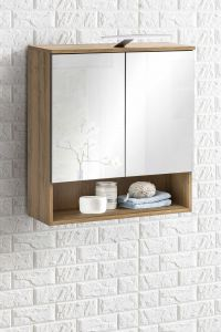 Spiegelschrank 2-trg. mit LED Beleuchtung  Bad Kao - Korpus Alteiche Melamin