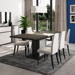 ASTON - Table rectangulaire 1 allonge pied fût Noir fil