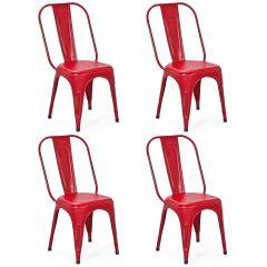 Set mit 4 Stühlen Aix - rot