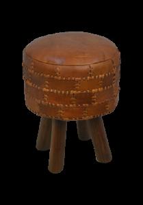 Hocker Patchwork 33cm rund, Leder vintage cognac