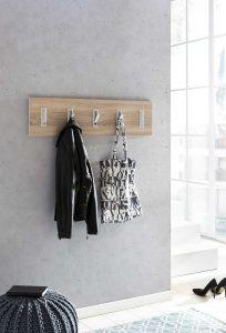Garderobenpaneel quer mit 5 Klapphaken - Melamin Dekor Sonoma Eiche