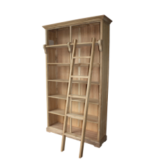 Bücherschrank mit Treppe - natur - Teakholz