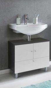 Waschbecken Unterschrank 2-trg. und 1 Klappe - Graphit / Weiß Melamin Dekor