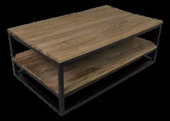 Couchtisch mit Regal - altes Holz / Eisen