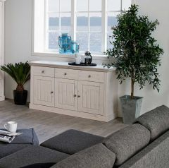 Sideboard MONACO 025 - Sideboard with 3 doors and 3 drawers - WHITE WASH