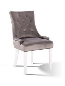 2er-Set Esszimmerstühle Bristol - pochiert grau/weiß