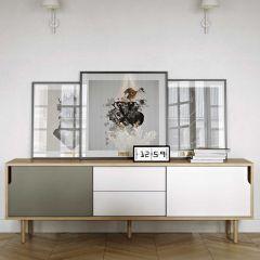 Sideboard Danny mit Schubladen - grau/weiß/eiche