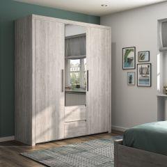 ABBY - Armoire 3 portes 2 tiroirs Chêne gris clair