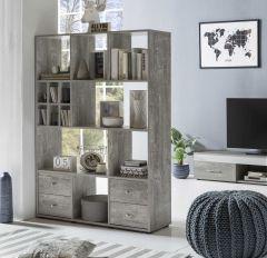 Regal Raumteiler mit 4 Schubladen und 13 Fächern - Melamin Dekor Beton