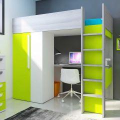 BO9 High Sleeper bed 200 cm Green