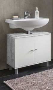 Waschbecken Unterschrank 2-trg.  - Beton / Weiß Melamin Dekor