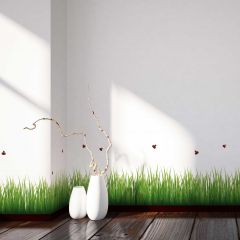 Wandaufkleber Gras & Marienkäfer - dekorative Bordüre