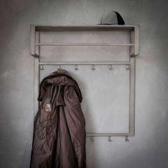 Garderobe industriell 2x6 Haken Stange -Hutablage - Silber-Finish
