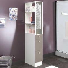 Badezimmerschrank Split - weiß/taupe