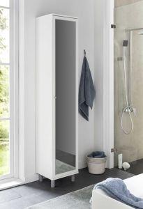 Hochschrank 1-trg. mit großem Spiegel - Weiß Melamin Dekor