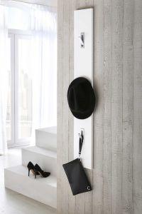 Garderobenpaneel mit 3 Klapphaken - Weiß Dekor Melamin