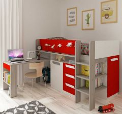 BO8 Mid-Sleeper bed Molina+White+Red color