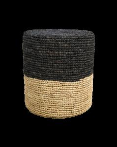 Pouf Malibu - Raffia - ø34 cm - natürlich / schwarz