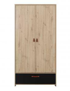 Kleiderschrank Liam 102cm mit 2 Türen und 1 Schublade - Eiche artisan