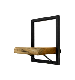 Wandregal Ebenen Live Edge - 25x32 cm - Akazie / Eisen