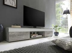 Lowboard mit 2 Schubladen - Melamin Dekor Beton/Weiß