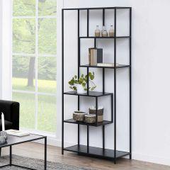 Seaford bookcase, 4 shelves - matt black