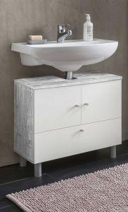 Waschbecken Unterschrank 2-trg. und 1 Klappe - Beton / Weiß Melamin Dekor