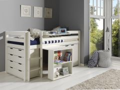 Halbhochbett Charlotte mit Schreibtisch, Schränkchen und Hochkommode - weiß