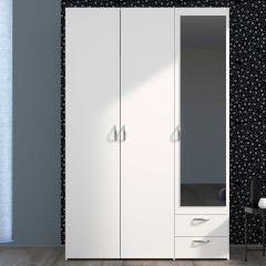 Salvador Spiegelschrank, 3 Türen und 2 Schubladen - weiß
