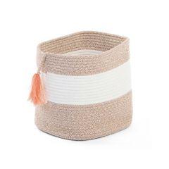 Cotton Rope Basket White Beige + Tassel Nude 28X28X27