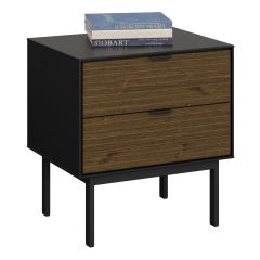 Dresser SOMA 002 - Nightstand with 2 drawers - BLACK/ESPRESSO