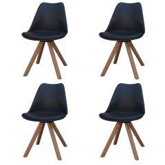 Set mit 4 Stühlen Chic - schwarz