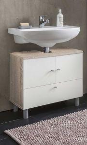 Waschbecken Unterschrank 2-trg. und 1 Klappe - Sonoma Eiche / Weiß Melamin Dekor