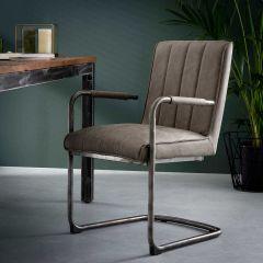 Stuhl gestreiftes Schaukelrahmen - Set von 2 - Wax PU Taupe