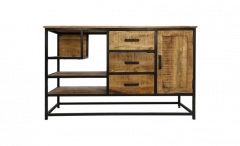 Sideboard mit offenen Fächern - Mangoholz / Eisen
