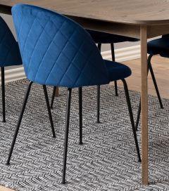 Louise dining chair Dublin - dark blue, matt black - set of 2