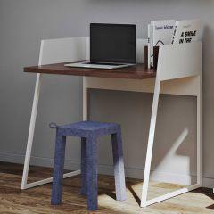 Schreibtisch Volta 90cm - weiß/Nussbaum