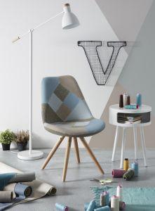 Set mit 4 Stühlen Ralf Holz/Stoff - Patchwork blau
