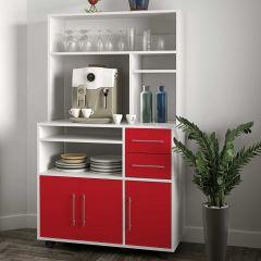 Cesar Küchenschrank für Mikrowelle - weiß/rot