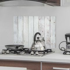 Wandaufkleber Weißes Holz Rückwand Küche
