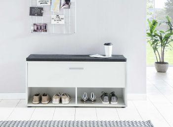 Schuhregal mit Klappe und Sitzkissen - Melamin Weiß Dekor