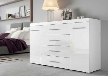 Kommode/Sideboard mit 2 Türen und 4 Schubladen, Korpus Weiß mit Fronten in Hochglanz Melamin Dekor - Weiß / Weiß Hochglanz Melamin Dekor