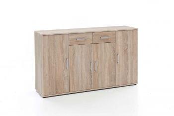 Kommode mit 4 Türen und 2 Schubladen - Melamin Sonoma Eiche Dekor