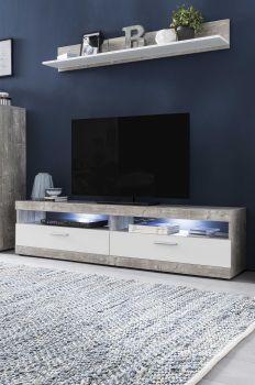 TV-Lowboard mit 2 Fächern und 2 Klappen mit RGB Beleuchtung und Farbwechsler, inkl. Wandregal - Korpus Beton Dekor, Front Weiß Melamin