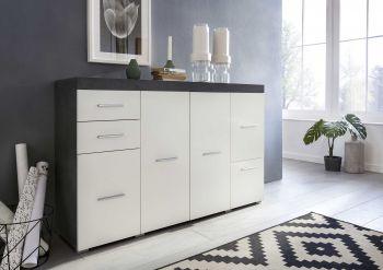 Sideboard FLINT 4-trg, mit 2 Schubladen und 1 Klappe - Korpus Graphit Dekor, Front Weiß Dekor