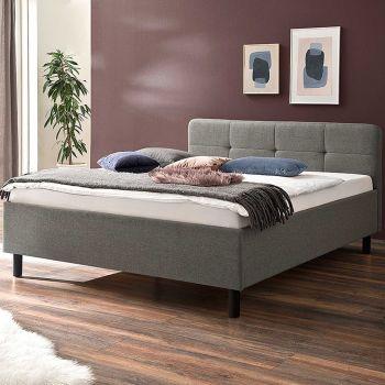 Bett Azis 180x200 mit Holzfüßen - hellgrau/graphit