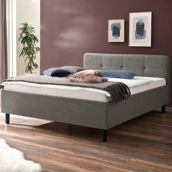 Bett Azis 140x200 mit Holzfüßen - hellgrau/grau