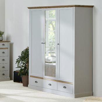 Kleiderschrank Silia 148cm mit 3 Türen und 2 Schubladen - grau/natur