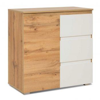 Seitenschrank Bild 1 Tür & 3 Schubladen - Eiche/weiß